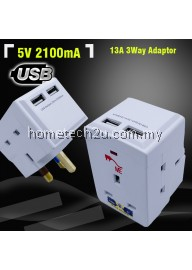 ME 13A 3Way Adaptor with 2 USB Charger 2100mA