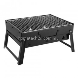PORTABLE CHARCOAL BARBECUE STOVE FOR OUTDOOR FAMILY PICNIC STAINLESS STEEL GRILL (BLACK)