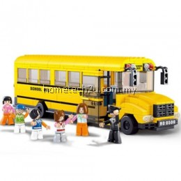 SLUBAN BIG SCHOOL BUS EDUCATIONAL TOY BUILDING BLOCKS ( 382 PIECES ) (MAIZE)