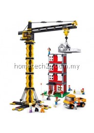 SLUBAN CRANE TOWER AND BUILDING - 1461 PIECES  EDUCATIONAL BLOCKS TOYS (MAIZE)