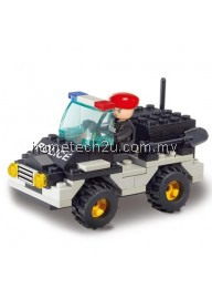 SLUBAN BUILDING BLOCKS EDUCATIONAL KIDS TOY RIOT POLICE JEEP CAR 88PCS (MIXCOLOR)