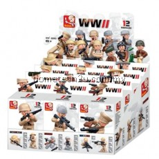 SLUBAN BUILDING BLOCKS EDUCATIONAL KIDS TOY 12 MODELS ASSORTED ARMY SET MILITARY TOYS (MIXCOLOR)