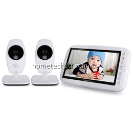 7.0 INCH WIRELESS 2 CAMERA LCD NIGHT VISION VIDEO BABY MONITOR (WHITE)