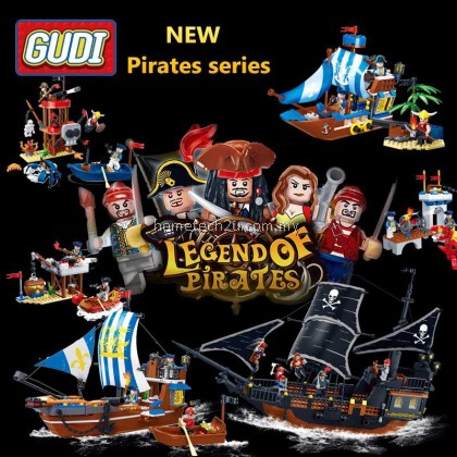 GUDI Building Blocks Compatible with LEGO Black Pearl Pirates of the Caribbean Series Boys Assembled Toys