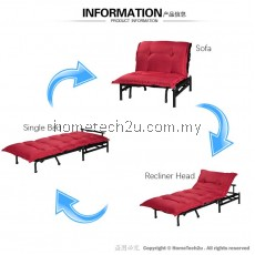 LAVELLE SINGLE SIZE SOFA BED RECLINING FUNCTION FOR EXTRA BED