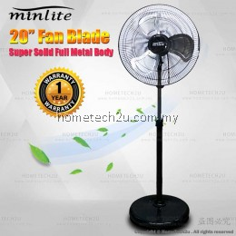 "Minlite 20"" Heavy Duty Commercial Industrial 3 Blades Stand Fan Cooling Strong Wind (Metal Body)"