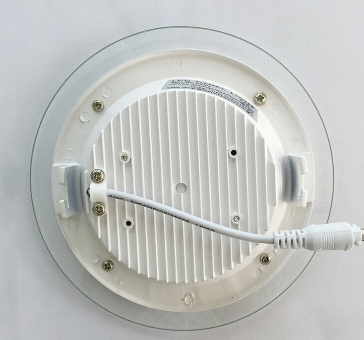 12w Led Ceiling Recessed Grid Downlight Slim Round Panel Light Glass Surface White